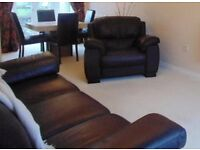 Lovely Italian Dark Brown leather 3 seater settee and chair