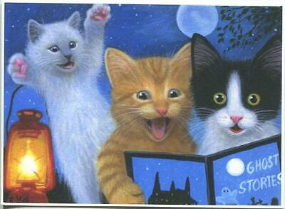 ACEO CATS KITTENS READING GHOST STORIES BOOK FULL MOON LANTERN HALLOWEEN  PRINT](Halloween Origin Story)
