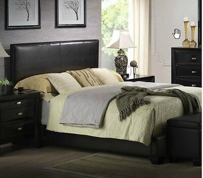 - Black Queen Size Bed Faux Leather Headboard, Footboard Rails Frame - SHIPS FREE