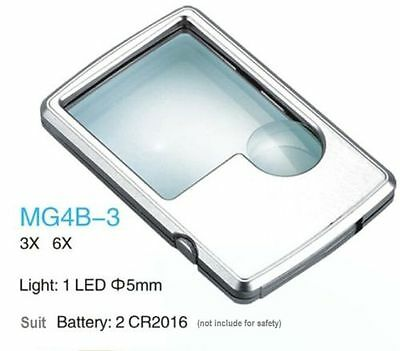 - Ultra-thin Pocket Credit Card Reading Magnifier 3X/6X LED Light Magnifying Loupe