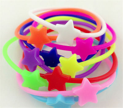 10pcs Luminous Neon Silicone Gummy Loom Rubber Hair band & Wristband Bracelet - Hair Loom