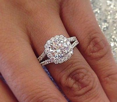 Platinum 3.04 Ct Round Cut Diamond Halo Split Shank Engagement Ring G,SI1 GIA