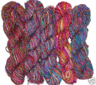 10 Skeins 2 lb Himalaya Recycled Sari Silk Yarn Hippie Color Handspun on Rummage