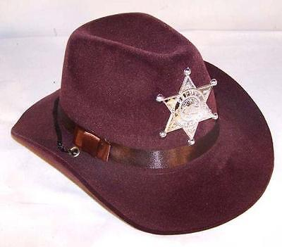Kids Cowboy Dress Up (CHILD BROWN VELVET SHERIFF COWBOY HAT w badge costume KIDS SIZE DRESS UP)