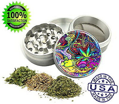 4 Piece Tobacco Spice Herb Grinder Metal Psychedelic Design New