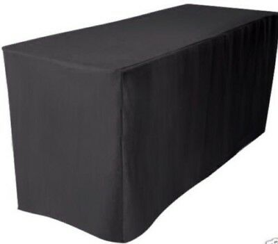 5' ft. Fitted Polyester Table Cover Wedding Banquet Event Tablecloth BLACK - Fitted Table Covers