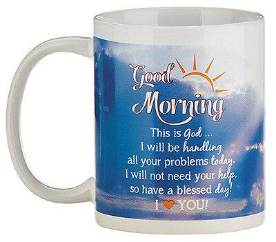 "Good Morning God Mug (YC265) Ceramic Coffee Cup 4""H 10oz NEW"