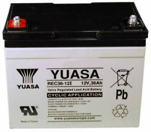 YUASA  AGM 12V 36Ah (36+ Holes) Golf Trolley Battery, Mocad Hillbilly Powakaddy