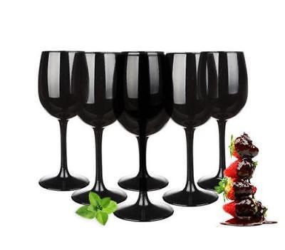 6 schwarze Weingläser 300ml Rotweingläser Weißweingläser Weinkelch Set