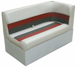 Grey/ Red/Charcoal Left Corner Boat Lounge Seat