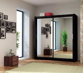 WOWW 2 DOOR SLIDING WARDROBE WITH FULLY MIRRORED --new--4 colours and 4 sizes available