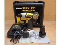 New STANLEY Fatmax Impact Driver 10.8V + 1.5Ah Li-Ion Battery + Charger + Case + ORIGINAL RECEIPT
