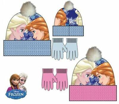Frozen Anna Elsa Disney Mütze Handschuhe 2-tlg.Set Kindermütze NEU