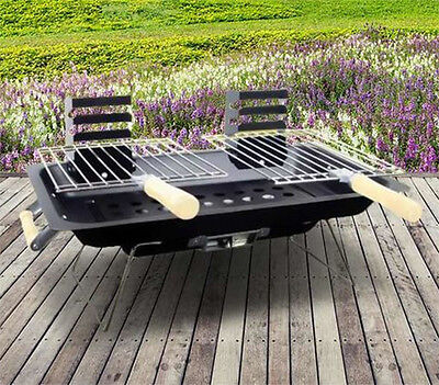 Portable Steel Hibachi BBQ Grill  Garden Picnic Beach Camping Caravan Travel