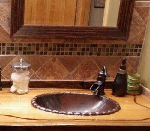 "19"" x 14"" Oval  Copper Rope Rimmed Vessel Vanity Bathroom Si"