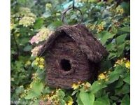 Rattan Effect Wooden Bird House Ornament Nesting Box Wild Garden Birds Furniture £5
