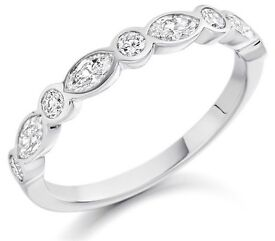 Round & Marquise Cut Diamonds Half Eternity Wedding Ring in Gold from Fine Diamonds R us