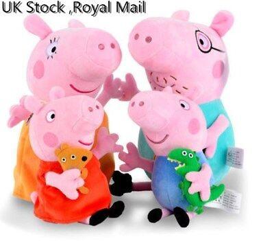 4 PCS Peppa Pig Stuffed Soft Plush Doll Toy Peppa George Mummy Daddy Xmas Gift