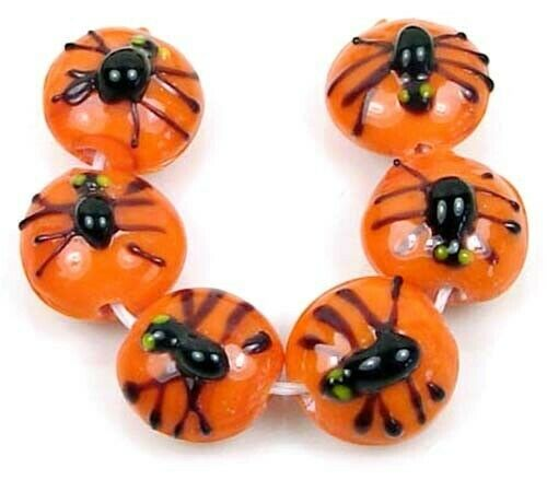 6 Lampwork Handmade Glass Spider Lentil Halloween Beads 16mm