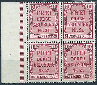 4 Im Rand (Dienst MiNr. 4 im Viererblock vom linken Seitenrand postfrisch)