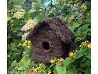 Rattan Effect Wooden Bird House Ornament Nesting Box Wild Garden Birds Furniture £5