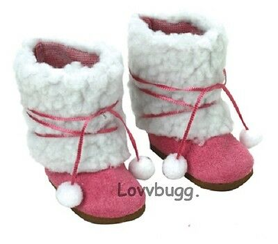 "Lovvbugg Pink Sherpa Pom Pom Boots for 18"" American Girl or Bitty Baby Doll Shoes"