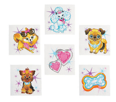 36 Assorted Bling Puppy Dog Girls Temporary Tattoos Party Favors