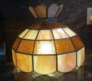 Vintage Stained Glass Hanging Lamp