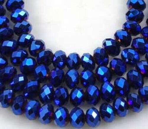 100 Czech Glass Faceted Rondelle - Metallic Iris Blue 4mm