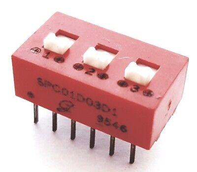 Dip Switch 3 Position Raised Slide150ma 30v Dpst Grayhill 78f03st 15 Pcs