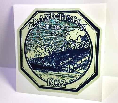 Grand Teton Nat. Park Vintage Style Travel Decal / Vinyl Sticker, Luggage Label