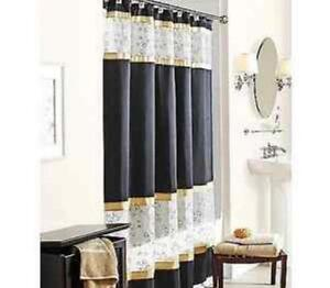 Black Gold Shower Curtain Ebay