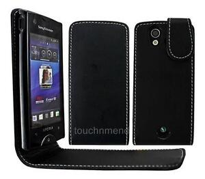 BLACK LEATHER FLiP CASE COVER POUCH FOR SONY ERiCSSON XPERiA RAY ST18i