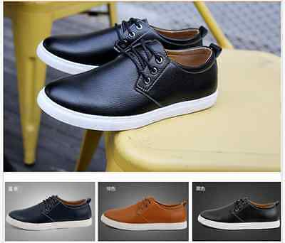 New Men's leather casual fashion sneakers lace casual shoes large size shoes@