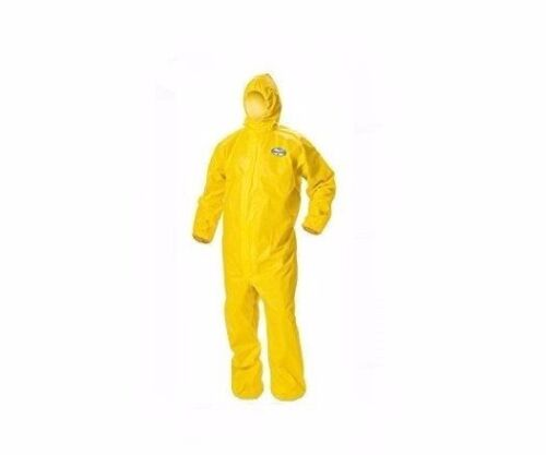 LAKELAND Chemical Spray Protection Coveralls w/ Hood SZ SMALL Yellow Suit C5428