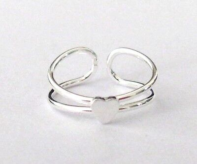 Sterling Silver 1 tiny heart size small adjustable toe ring.