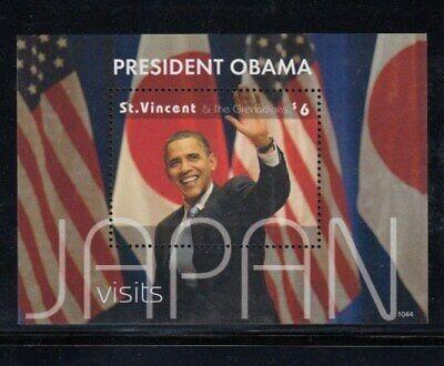 ST. VINCENT President Obama Visits Japan MNH souvenir sheet