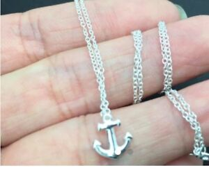 New tiny silver anchor necklace