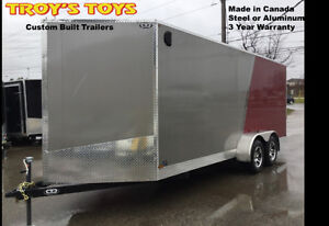 7' x 18' V-Nose Cargo Trailer With Aluminum Wheels