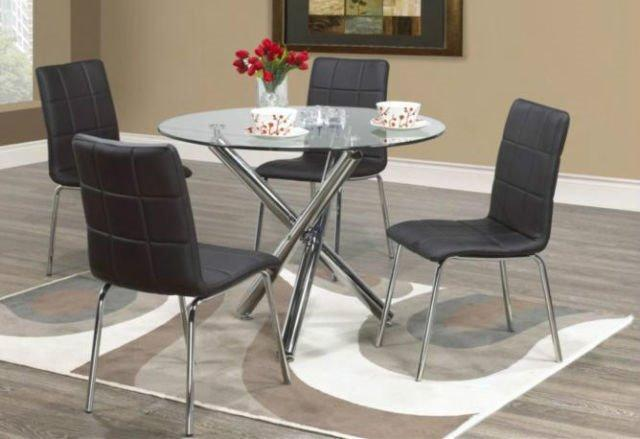 ca1067dccb9f Description. CONTRA - 7Pcs Modern Glass Dining Table Set with Faux Leather  Chairs Color  Black or White
