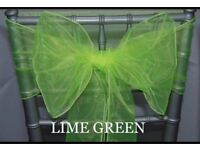 FOR SALE 100 LIME / APPLE GREEN Organza Chair Sashes - BRAND NEW & PACKAGED!