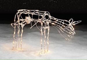 Moving full size prelit deer lawn Christmas decoration