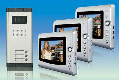 """3x 7"""" Farb erweiterbar Video Türsprechanlage Gegensprechanlage 3 Familien Haus"""