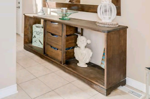 Large rustic espresso entry table or sideboard