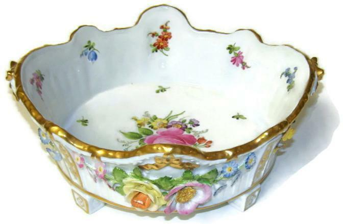Antique 19th C Von Schierholtz Germany Applied Dresden Flowers Centerpiece Bowl