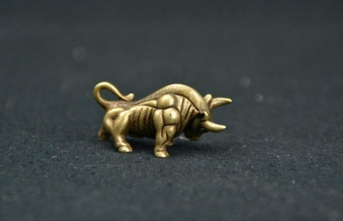 Купить Chinese Pure brass Wall Street bull small statue