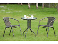 Venice Rattan Effect Bistro Patio Furniture Set 3pc