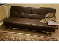 Sofa bed in leather