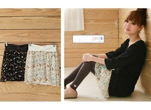 NEW-Womens-Japanese-Korean-Fashion-Style-Chiffon-Cute-Print-Mini-Skirt-Beige-HOT