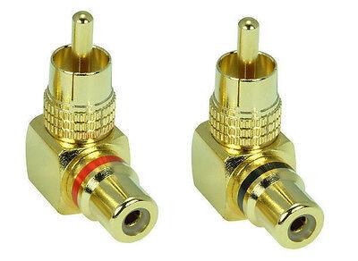 Ein Winkel (Ein Paar Premium Cinch-Adapter | Cinch Stecker auf Cinch-Kupplung Winkeladapter)